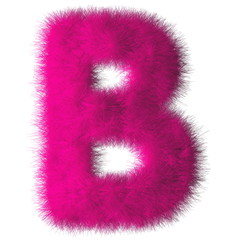 Pink shag B letter isolated on white background