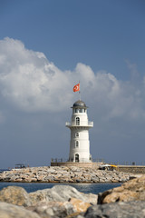 Lighthouse in the port of Alanya, Turkey.