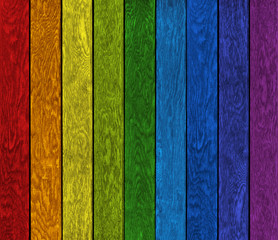 Farbige Holzwand