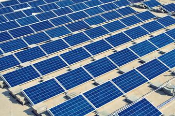 Solar panel power plant under construction