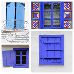 beautiful old  blue painted wooden windows collage