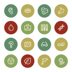 Medicine web icon set 2, vintage color