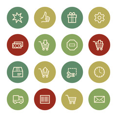 Shopping cart web icons, vintage color