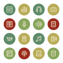 Media web icons, vintage color