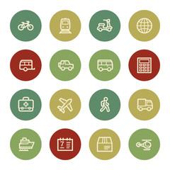 Transport web icons, vintage color