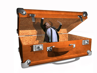 man in the suitcase