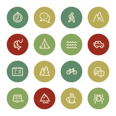 Travel web icon set 3, vintage color