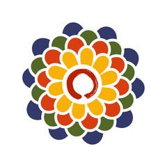 Colorful Lotus and Zen circle illustration