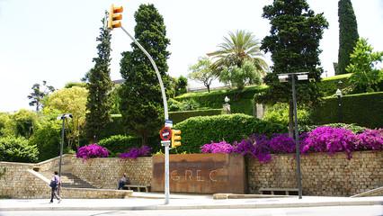 Entrada a los jardines del Teatre Grec, Montjuic, Barcelona