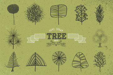 Custom Hand drawn tree icons set