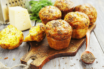 Cupcakes with cheese, dill and cumin