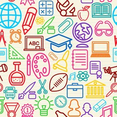 Colorful Education seamless pattern background