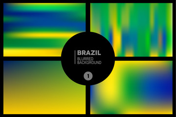 Brazil colors blurred backgrounds set