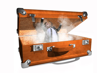 man in a suitcase full of dust