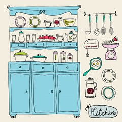 Kitchen set in vector. Design elements of kitchen.