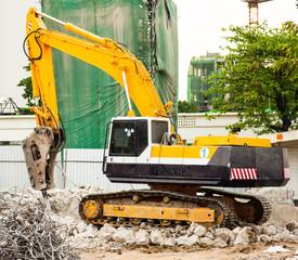 Excavator Working on Construction Site