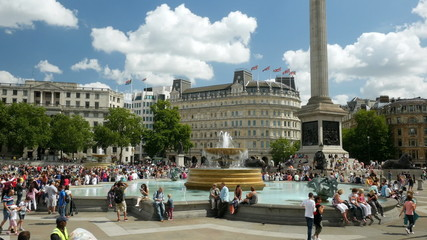 Trafalgar Square tourists, London, England.