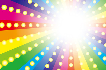 背景素材壁紙(レインボー,虹, 虹色,  七色, 放射放, 射状, 光の玉, )