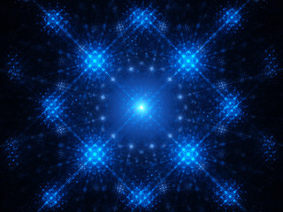 Abstract blue glowing snowflake