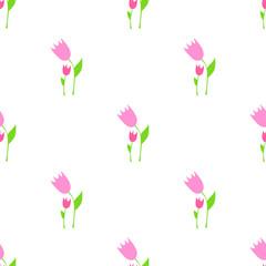 Seamless tulips pattern