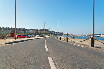 Road to Saint Malo in summer with blue sky. Brittany. France.