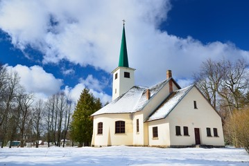 Country side Catholic church in winter