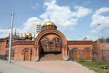 Alexander Nevsky Cathedral in Novosibirsk in May