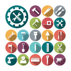 Flat icons Building and tools vector collection.