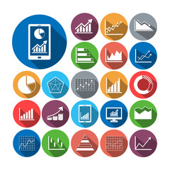 Flat icons business graph  vector collection.