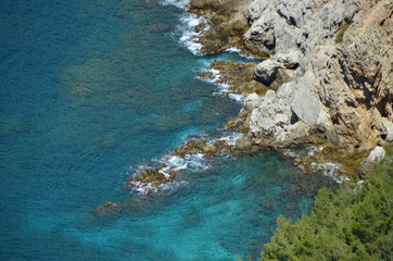 rocks in turquoise sea water