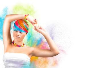 Rainbow colorful fashion makeup