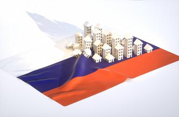 3d render illustration of russian real-estate development
