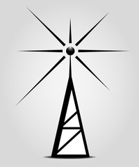 broadcasting antenna on the grey background