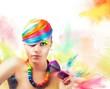 Colorful beauty fashion portrait