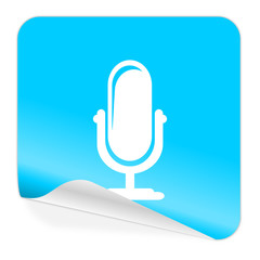 microphone blue sticker icon