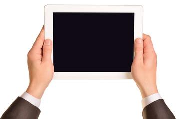 Businessman holding digital tablet, closeup