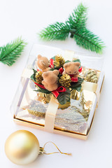 Three Little Bears Present and a Golden Christmas Tree Ball