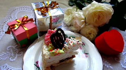 Birthday cake and gifts