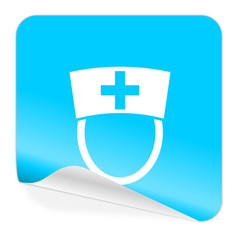 nurse blue sticker icon