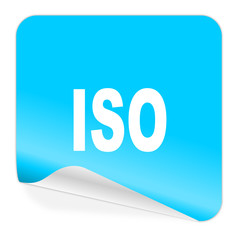 iso blue sticker icon
