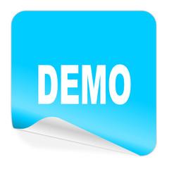 demo blue sticker icon