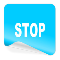 stop blue sticker icon