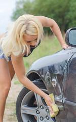 Sexy woman washing car with sponge.