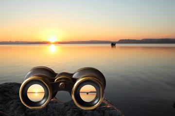 altes Fernglas, Sonnenuntergang