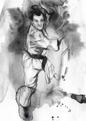Karate - Hand drawn (calligraphic) illustration