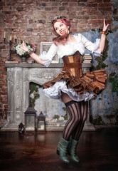 Beautiful steampunk woman jumping