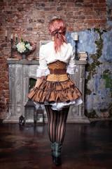 Beautiful steampunk woman back