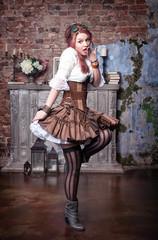 Beautiful steampunk woman posing