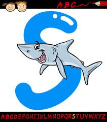 letter s for shark cartoon illustration