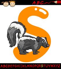 letter s for skunk cartoon illustration